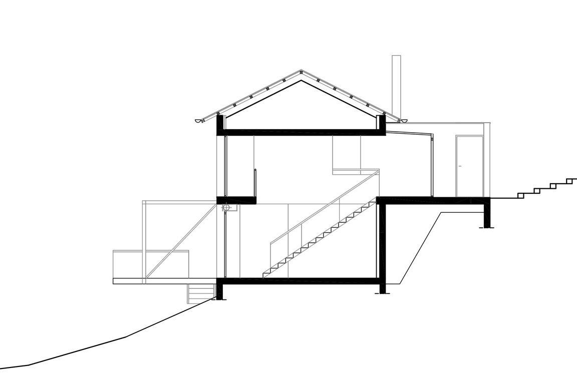 Plan maison architecte dans la pente 1 architecture aveyron for Plan maison en pente